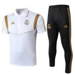 Polo Real Madrid Ensemble Complet 2019 2020 Noir Blanc Or